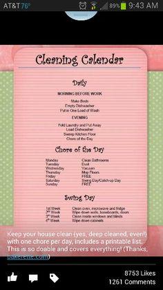Cleaning calendar