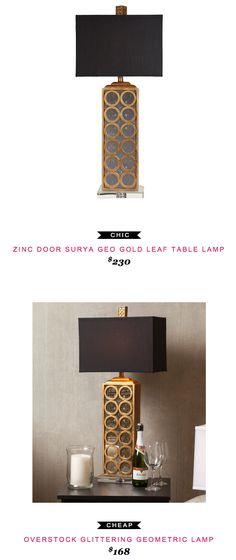 Zinc Door Surya Geo Gold Leaf Table Lamp $230 vs Overstock Glittering Geometric Lamp $168