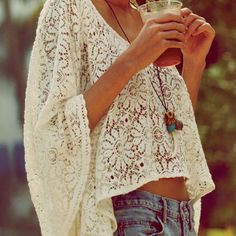 """We dig it! Pair lace with denim and your summer wardrobe will be effortlessly """"woodstock."""" Bravo."""