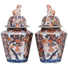 1stdibs | Pair Imari Porcelain Vases & Lids ca 1800