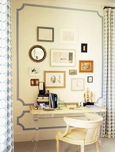 Home office wall art idea- clever way to frame a space and add interest to a wall