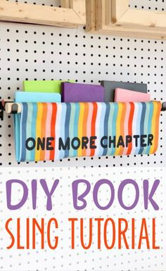 How cute is this DIY Book Sling? It's a fun way to display your books and keep your favorite ones handy! It's easy to make too. We'll show you how. #cricut #cricutexplore #cricutmaker #cricutmade #cricutprojects