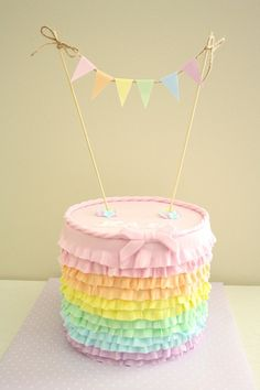 Mini Cake Bunting / Banner (Pastel Colours) - Instant Download - Make your own cute bunting banner as a cake topper!