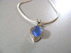 cornflower blue sea glass seaglass jewelry crafts idea necklace