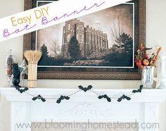 Easy DIY Bat Banner- Blooming Homestead #bat #halloween #halloweendecor #garland #sillouette #bloominghomestead