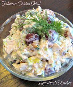 Delicious and easy to make!  Fabulous Chicken Salad/  Sugarplum's Kitchen kitchens, chickensalad chicken, chicken salads, disheschicken salad, food, sugarplum kitchen, main disheschicken, recip, fabul chicken