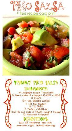 Pico Salsa Recipe with Free Recipe Card Print { lilluna.com } #salsa