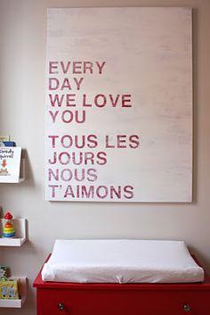 languages, diy art, kid decor, kids wall, messag, future babies, kid rooms, nurseri, children