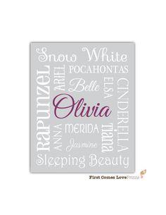 Princess Bedroom Art  Custom Print  8x10 by FirstComesLovePrints, $15.00 - Alli needs this!