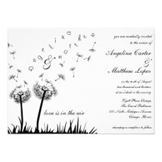 flying dandelion wedding invitation