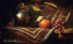 Crab  Apple & Grape Leaves by Christine Hooker Oil ~ 6 x 10