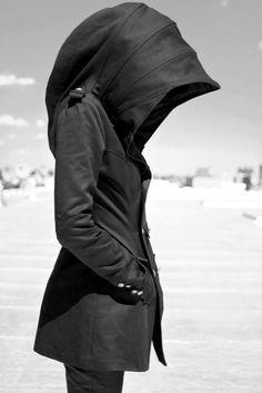 black cloak jacket #hood