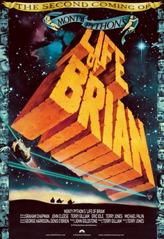 """""""Monty Python's Life of Brian"""" in 1979 directed by Terry Jones (Colwin Bay 1942). British comedy film written, directed and largely performed by the Monty Python comedy team. It tells the story of Brian Cohen, a young Jewish man who is born on the same day as, and next door to, Jesus Christ, and is subsequently mistaken for the Messiah. The film contains themes of religious satire that were controversial at the time of its release."""