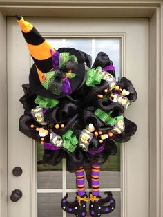 Halloween Witch Deco Poly Mesh Wreath