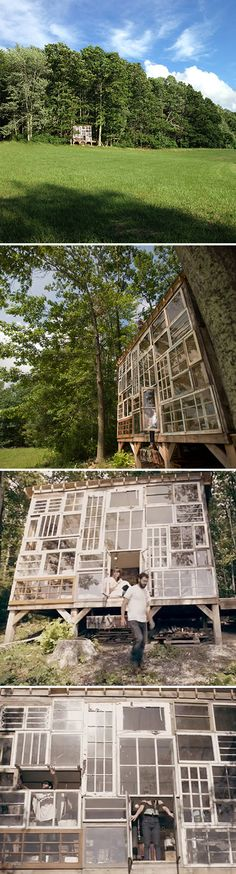 a cabin made of salvaged windows