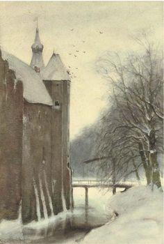The Castle Doorwerth in winter, Louis Apol. Dutch (1850 - 1936)
