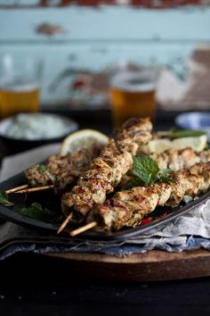 grilled chicken kebabs with lemon, chili and mint and tzatziki