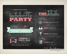 Bachelorette Party Night/Weekend Itinerary Modern Invitations (Bachelorette Schedule/Bachelorette Weekend Invitations) -- Digital Printable on Etsy, $12.00