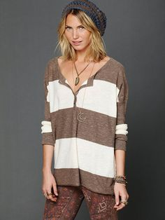 Free People Stripe Henley at Free People Clothing Boutique