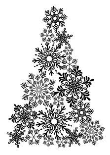make tree using snowflakes! - I'm thinking blue canvas with silver snowflakes
