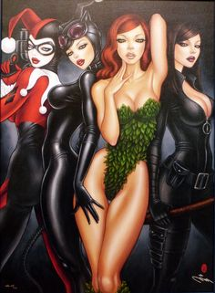 The bad girls of comics- Tali Al Ghul, Poison Ivy, Catwoman and Harley Quinn