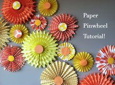 diy fashion, paper pinwheel, diy gifts, shower, paper crafts, flower, sunshine party, backdrop, parti