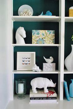 bookshelf styling white animals
