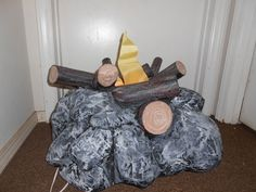 Paper Mache  electric fake camp fire - Amy Swafford