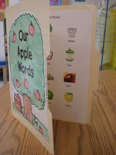 Kindergarten Smiles: Our Words Portable Word Walls-theme picture on the front & labeled pictures inside- neat idea!