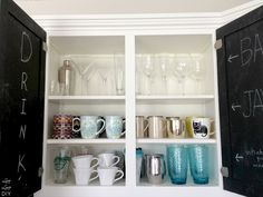 Painting the insides of kitchen cabinets with chalkboard paint | LiveLoveDIY