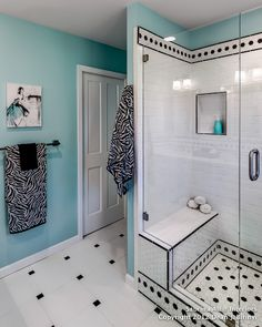 black and white and teal bathroom, love the colors but would have gone with more of a French country feel