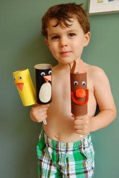 """Simple cardboard-tube puppets ("""",) idea, puppet, ducks, penguins, paints, kids, kid stuff, cardboard tubes, kid craft"""