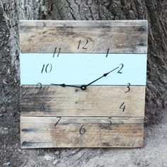 Reclaimed Wood Clock - Blue | dotandbo.com