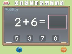 Attainment's Show Me Math Free ($0.00 addition only - iAP options for other operations) links computation with actual objects by showing a brief animated movie for each math problem. Helps students visualize math. Students enter answers by tapping a number on a number line, choosing it from a multiple-choice format, or drawing the number with their finger in the answer box. Allows for unlimited users, each with customizable settings. Scanning capable. math app, therapi app, number lines, app educ, math logic, ipad app