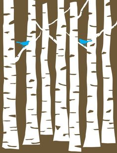 Brown Forest with Cyan Blue Birds on White Trees | Priss Designs