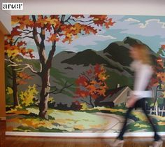 Paint by numbers DIY wall mural. Awesome.