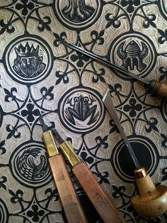 Block by ellis nadler, linocut printmaking, stamp, pattern, block prints, woodcut prints