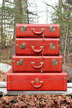 vintage red leather luggage set