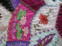 How to piece a crazy quilt patch by hand: looks fun
