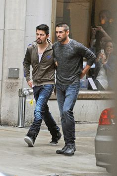 Colin Farrell and Dominic Cooper on set for Dead Man Down