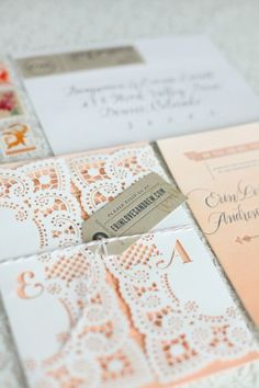 Photographer Laura Murraysent over the gorgeous invitations for her sister Erin's wedding. Erin worked with Roger from Flourish Letterpressand Victoria of Calligraphosto create a custom invitation suite that combines hand painted watercolor (DIY'd by the bride and groom!), letterpress, calligraphy, and even laser cutting!