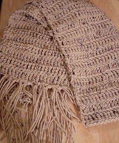 Buff Fleck Simple 'N Warm Scarf.  Crochet Scarf Pattern.