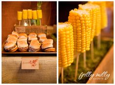 sliders and corn on the cob on a stick