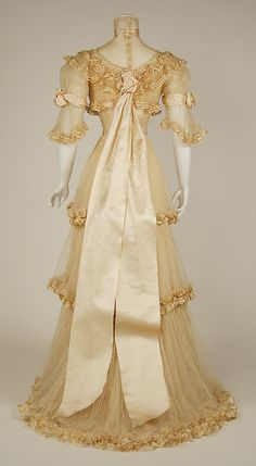 Dress, Evening by JACQUES DOUCET. 1906–7, French. Medium: silk. (a) Length at CB: 25.4 cm. (b) Length at CB: 132.1 cm. (c) Length at CB: 31.8 cm.