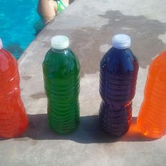 Homemade dive sticks my friend and I thought of today. Get empty water bottles and fill them up with pool water. Add food coloring and shake. Make sure bottle is completely filled with water or it will float. Glow dive sticks is our next idea for night time. Our kids loved it. tapioca flour, stick, swimming pool ideas for kids, pool party crafts for kids, food coloring, gluten free, pool water, homemade swimming pools, water bottles