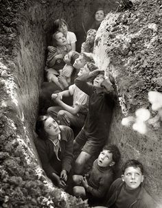 Children in bomb shelter during the Battle of Britain, 1940 or 41