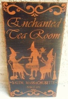 Halloween decorations witches Enchanted Tea Room Primitive Witch Signs magic Plaques Witchcraft Cats Halloween $30