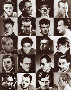 The Surrealists: Breton, Ernst, Dalí, Arp, Tanguy, Char, Crevel, Eluard, De Chirico, Giacometti, Tzara, Picasso, Magritte, Brauner, Peret, Rosey, Miro, Mesens, Hugnet,  Man Ray. (Surrealist Chessboard by Man Ray, 1934)