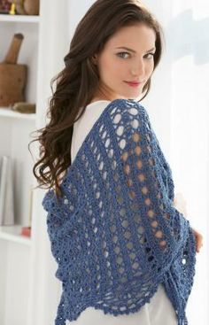 Quick Weekend Shawl Free Crochet Pattern from Red Heart Yarns