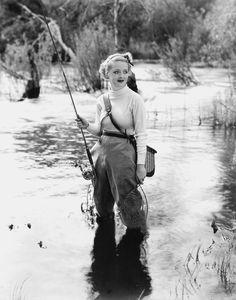 Bette Davis - never has fishing looked lovelier. #vintage #1930s #actresses